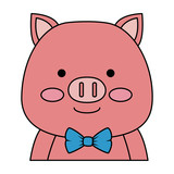cute pig character icon vector illustration design - 210499144