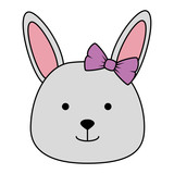 cute female rabbit head character icon vector illustration design - 210499173