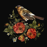 Embroidery birds and roses flowers. Template for t-shirt design, clothes - 210500117