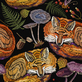 Fashionable template for design of clothes. Classical embroidery. Red fox sleeping in autumn forest. Embroidery sleeping fox and mountain ash, mushrooms, forest herbs seamless pattern - 210500122