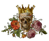Gothic romanntic embroidery human skulls, crown and red roses and pink peonies, clothes template and t-shirt design.Embroidery golden crown, skull and red roses. Dia de muertos, day of the death art - 210500124