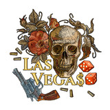 Embroidery skulls and guns. Las Vegas slogan. Casino concept. Wild west embroidery old revolvers, roses, human skulls, gangster gothic - 210500129