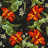 Classical embroidery red lilies pattern, template fashionable clothes, t-shirt design, print vector. Embroidery flowers lily seamless pattern - 210500130