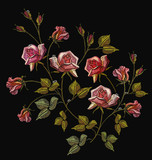 Fashion template for clothes, textile t-shirt design. Embroidery roses, classical embroidery rose flowers with dew drops - 210500135