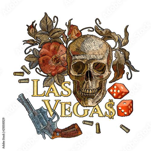 Embroidery Skulls And Guns Las Vegas Slogan Casino Concept Wild