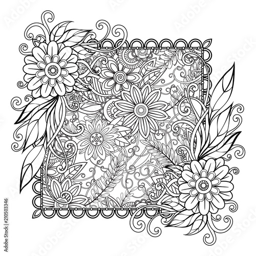 Adult coloring page with flowers pattern. Black and white doodle wreath. Floral mandala. Bouquet line art vector illustration isolated on white background.