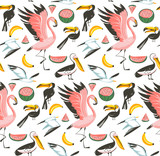 Hand drawn vector abstract cartoon graphic summer time beach illustrations seamless pattern with watermelon,gulls,flamingo and toucan birds,banana and watermelon fruits isolated on white background - 210505196