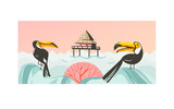 Hand drawn vector abstract cartoon summer time graphic illustrations art with beach sunset scene with cabin in sea and tropical toucan birds isolated on white background - 210505505