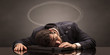 Leinwanddruck Bild - Young businessman sleeping and dreaming at the office
