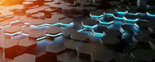 Poster Black blue and orange hexagons background pattern 3D rendering