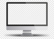 Computer monitor display with empty screen isolated on transparent background.