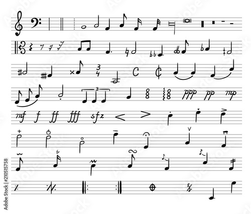 Vector Music Notes Drawn Illustration Musical Staff And Different