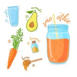 Orange cocktail for healthy life. Smoothies with avocado, carrot, honey and tirmeric spice . Recipe vegetarian organic smoothie in jar. Template recipe card with detox drink for diet. Vector - 210516932