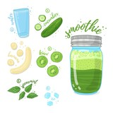 Green cocktail for healthy life. Smoothies with kiwi,mint melissa herb, banana and cucumber. Recipe vegetarian organic smoothie in jar. Template recipe card with detox drink for diet. Vector - 210516941