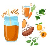 Orange cocktail for healthy life. Smoothies with sweet potato, apricot, broccoli and carrot juice. Recipe vegetarian organic smoothie in jar. Template recipe card with detox drink for diet. Vector - 210516972