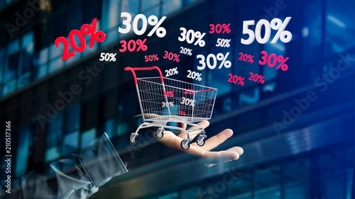 Leinwanddruck Bild Businessman holding a Red and white Trolley and sales discount - 3d render