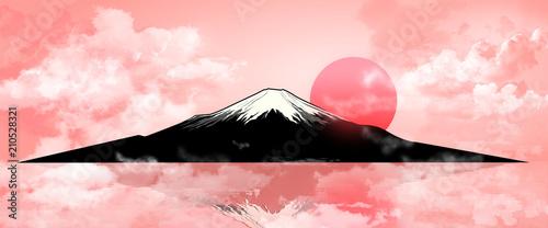 Fotobehang Lichtroze Mount Fuji on evening sunset 1.Silhouette Fuji mountain at sunset