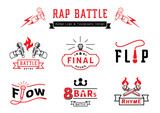 rap battle badge logo and typography design