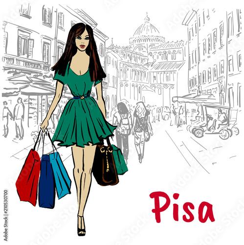 Fototapeta woman in Pisa
