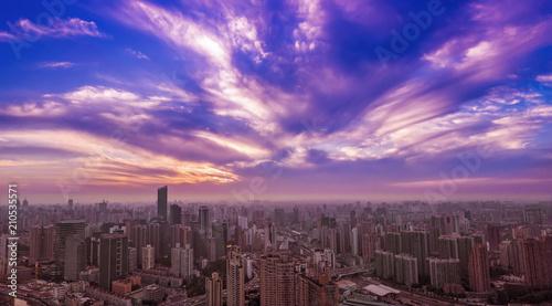 Plexiglas Shanghai Shanghai city view in the sunset background.
