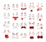 Cartoon faces. Happy excited smile laughing unhappy sad cry and scared face expressions. Expressive caricatures vector set - 210537749