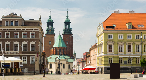 Gniezno streets and building historical center, old town in Poland - 210541723