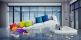 Überschwemmung im Wohnzimmer - 210545534