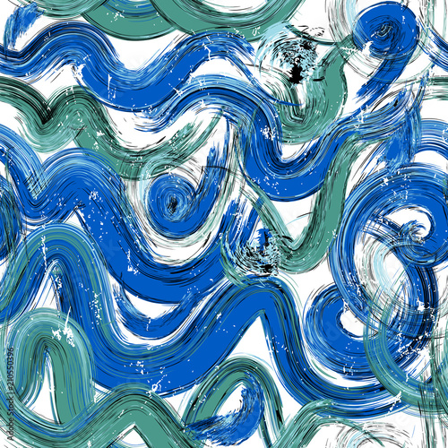 Aluminium Abstract met Penseelstreken abstract background composition, with waves, paint strokes and splashes, seamless pattern