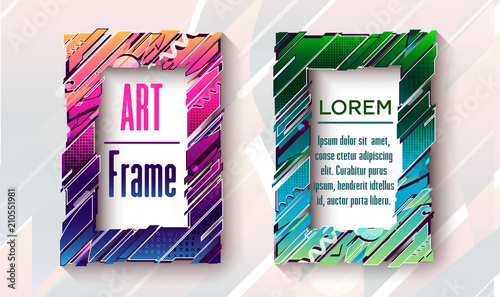 Modern art frames with abstact elements