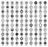 Crypto currency blockchain assets vector logo set black round isolated on white background - illustration - 210552989