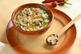 Barley soup with mushrooms and vegetables - 210556576
