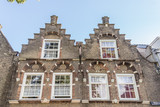Historic 17th century house fronts with stepped gables in the hisotic cneter of Dordrecht, Netherlands