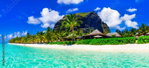 Plexiglas Freesurf Gorgeous white sandy beaches and turquoise waters of Mauritius island - tropical paradise