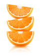 Leinwanddruck Bild - Three wedges of orange fruit on top of each other isolated on white background with clipping path