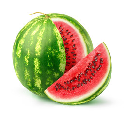 Isolated watermelon fruit. One whole watermelon with a cut out slice isolated on white background with clipping path © Anna Kucherova