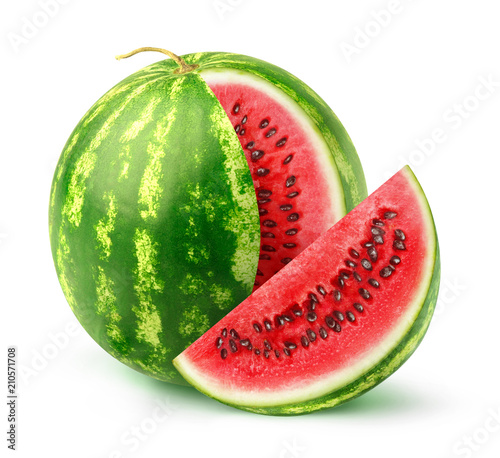 Isolated watermelon fruit. One whole watermelon with a cut out slice isolated on white background with clipping path - 210571708