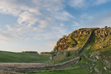 Beautiful landscape image of Hadrian's Wall in Northumberland at sunset with fantastic late Spring light - 210580761