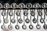 Close up of retro style typewriter in studio - 210581116
