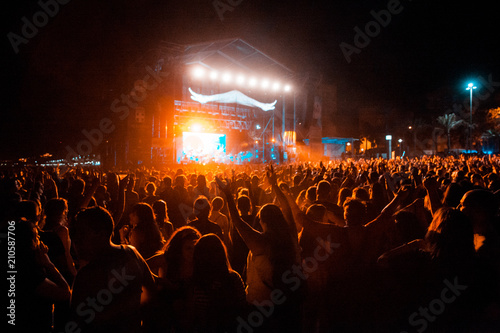 View of a concert with people or audience with hands in the air and clapping at a music festival. Summer music festival. - 210587706