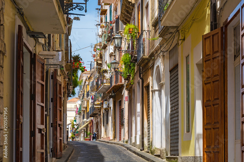 Fototapeta old charming street in old town Pizzo, Calabria, Italy