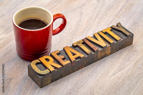 Fototapeta creativity word abstract in wood type