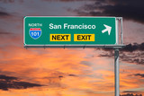 San Francisco California Route 101 Freeway Next Exit Sign with Sunset Sky