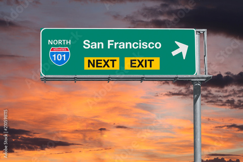 Plakat San Francisco California Route 101 Freeway Next Exit Sign with Sunset Sky