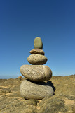 Zen rock stack of balanced rocks on Pacfic beach, Baja, Mexico - 210604735