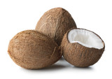 heap of ripe coconuts isolated on white background