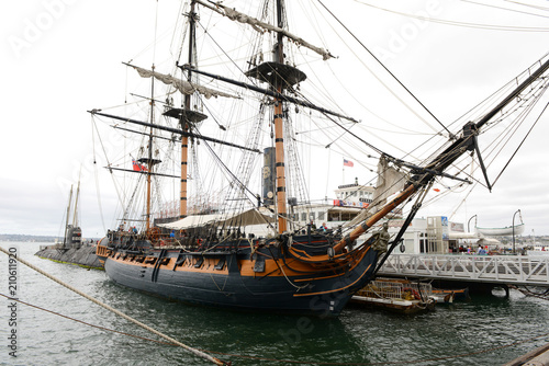 Fotobehang Schip Old vintage sail ship
