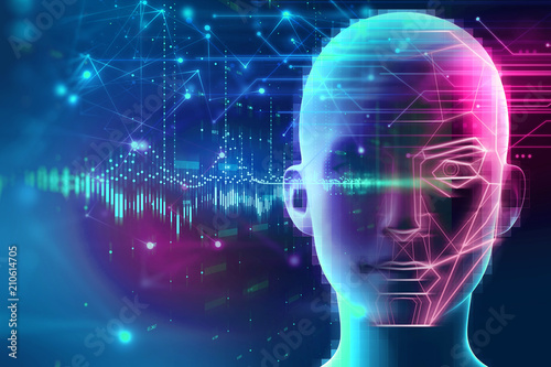 graphic face on abstract technology background
