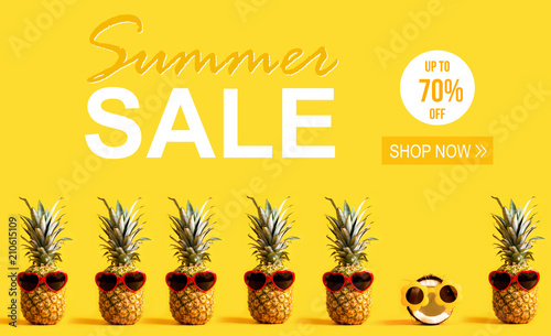 Summer Sale with pineapples and a coconut wearing sunglasses - 210615109