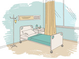 Hospital ward graphic color interior sketch illustration vector - 210618104