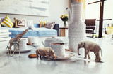 african animals on the coffee table. - 210620324